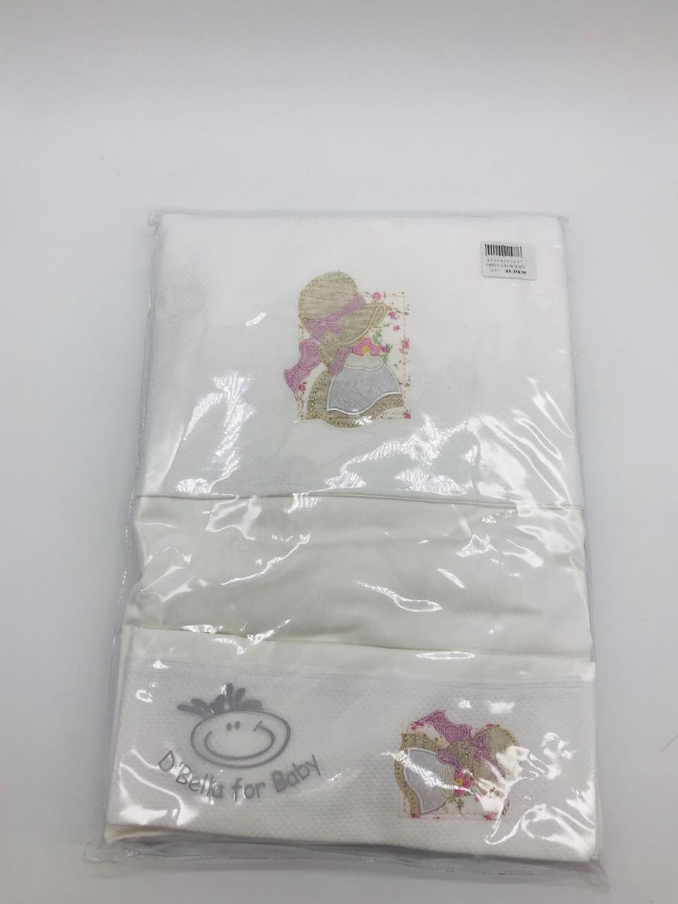Lençol de Berço Percal Menininha Branco - Dbella Ref Col 02143-004u