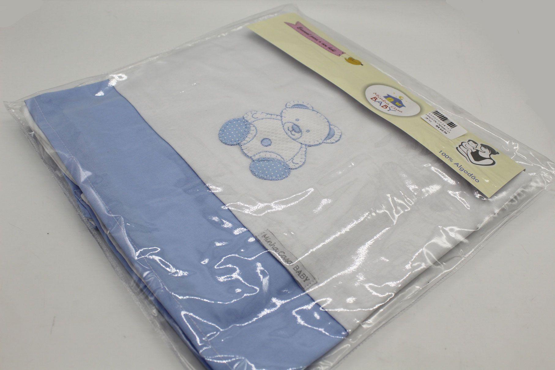 Lençol de Carrinho Urso Azul Malha 3 Pçs - Minha Casa Baby Ref Lcm5061
