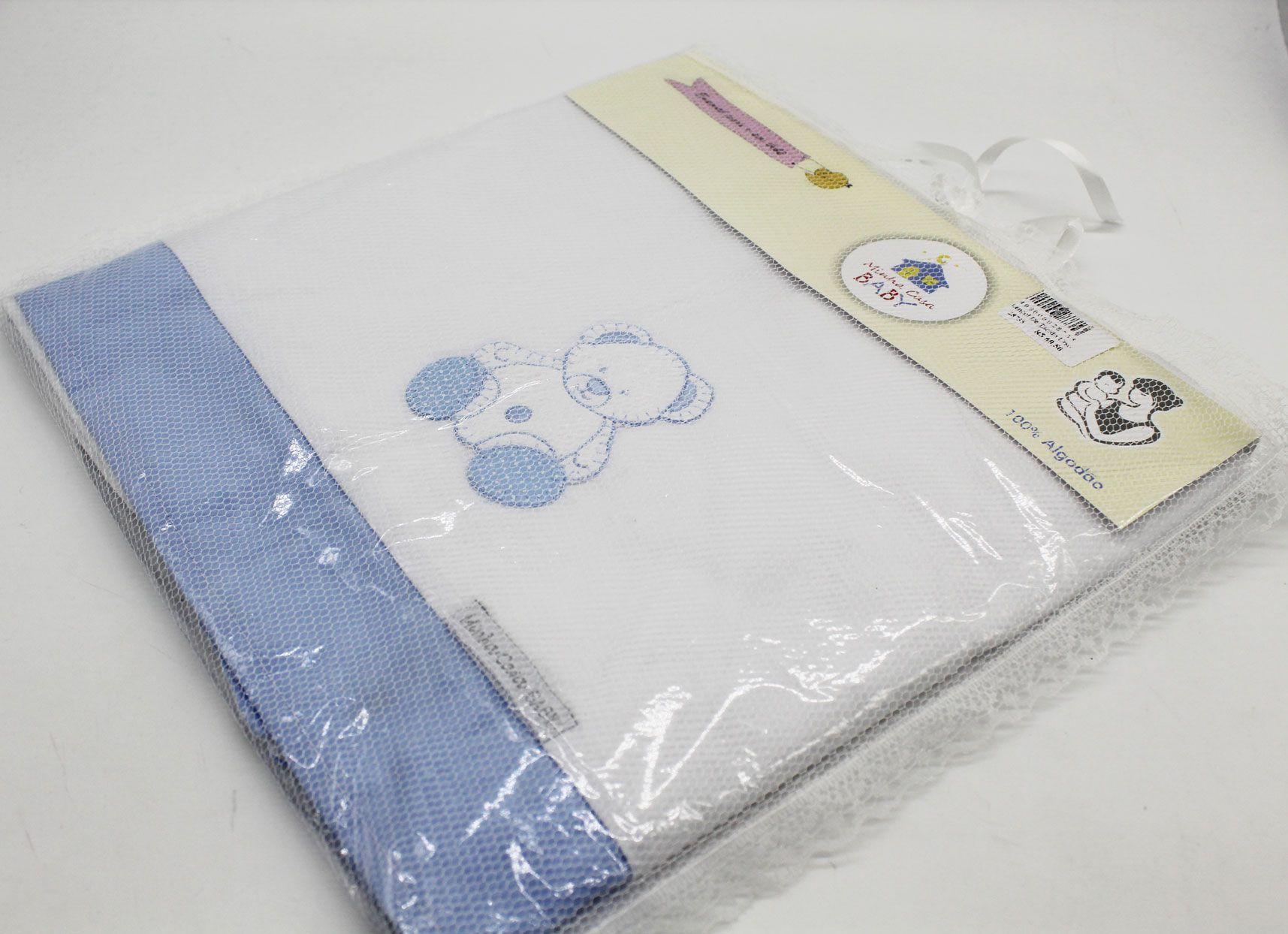 Lençol de Tecido Urso Azul Mini Berço 3 Pçs - Minha Casa Baby Ref Lmb5061