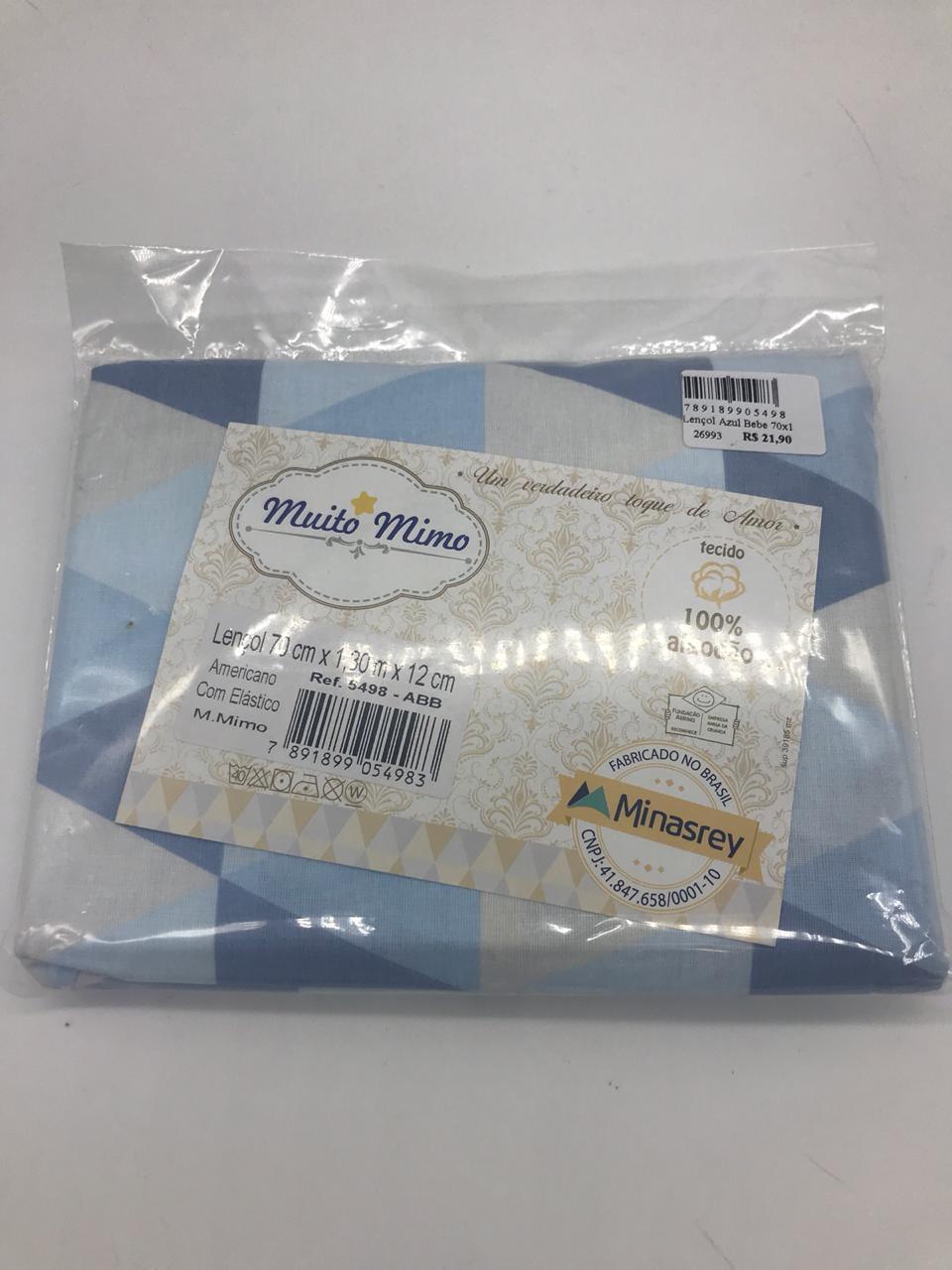 Lençol Triangulo Azul Bebe 70x1,30x12cm Com Elastico - m Mimo Minasrey Ref 5498