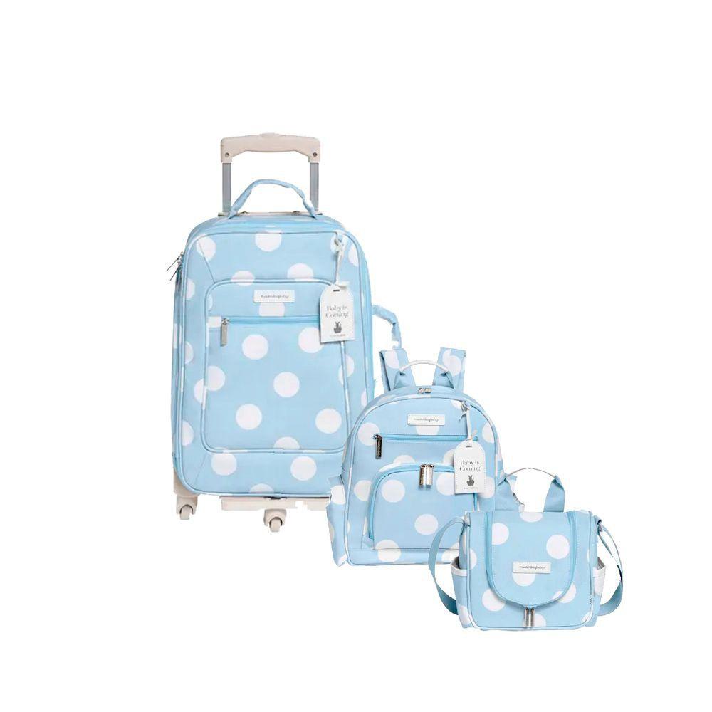 Mala de Rodinhas + Mochila Noah + Frasqueira Emy Bubbles Azul - Masterbag