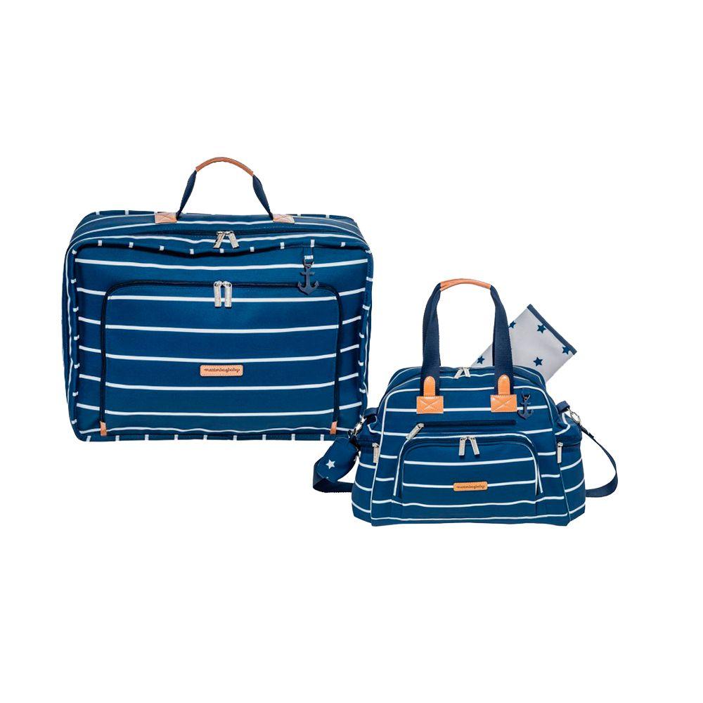 Mala Vintage + Bolsa Everyday Navy Star Marinho - Masterbag