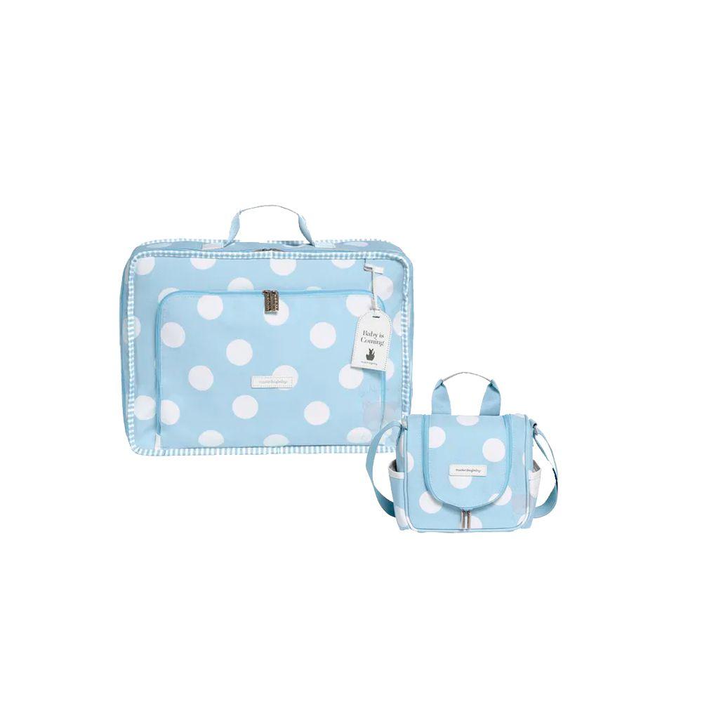 Mala Vintage + Frasqueira Emy Bubbles Azul - Masterbag