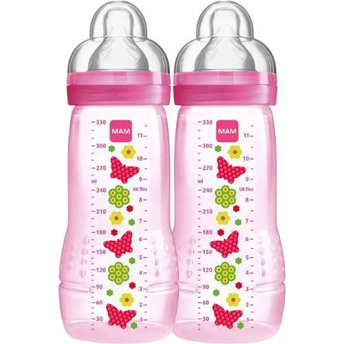 Mamadeira 2 un First Bottle 330ml Rosa Borboletas - Mam Ref 4844