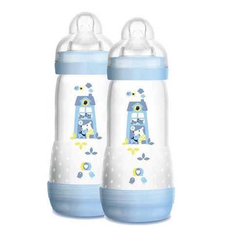 Mamadeira 2 un First Bottle Casinha Azul 320ml - Mam Ref 4683