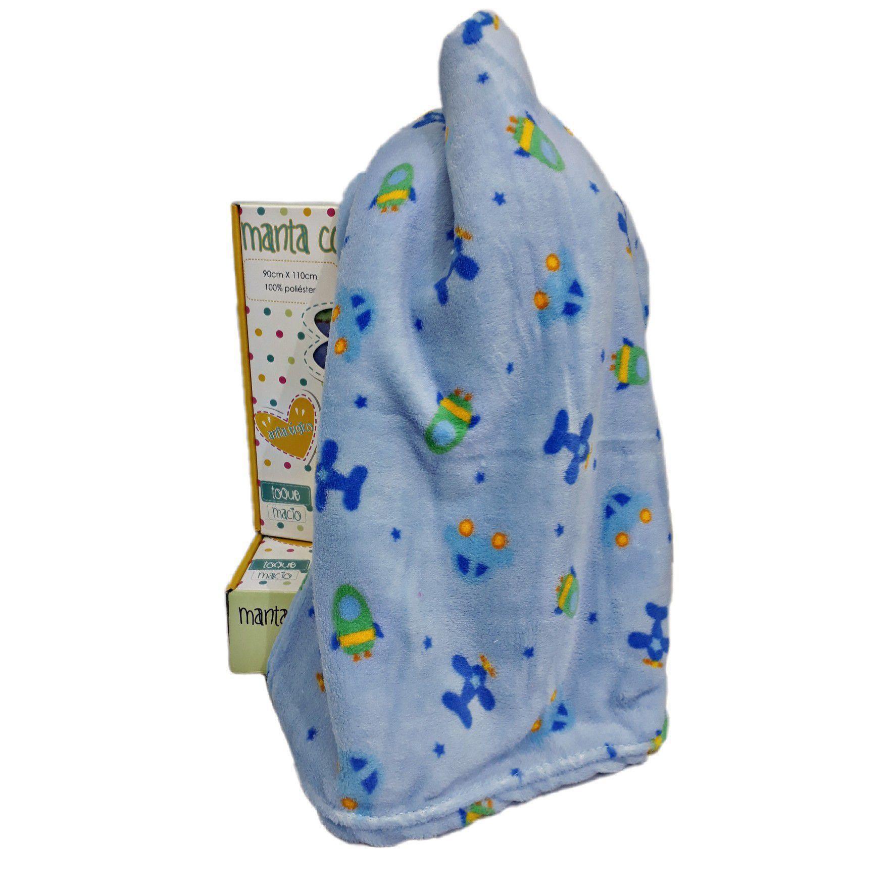 Manta Confort Baby Azul Avião - Hazine Ref 31006