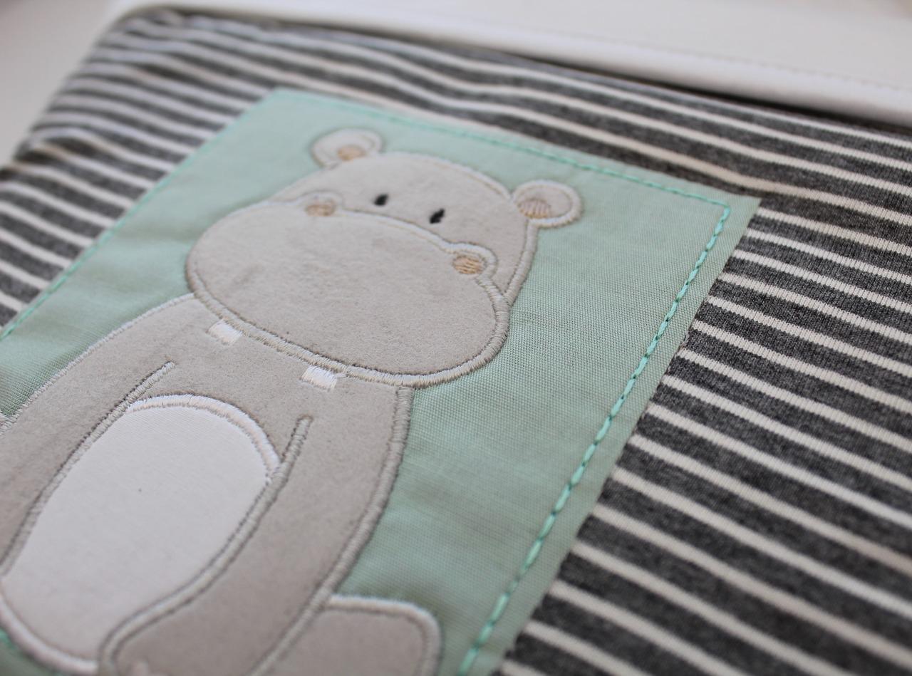 Manta Dupla Microsoft Malha - Listrado Hipopótamo D'Bella For Baby