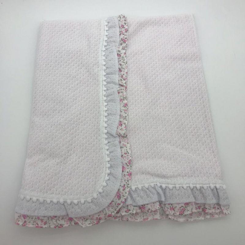 Manta Forrada Encanto Rosa Com Branco Floral - Catavento Ref 258