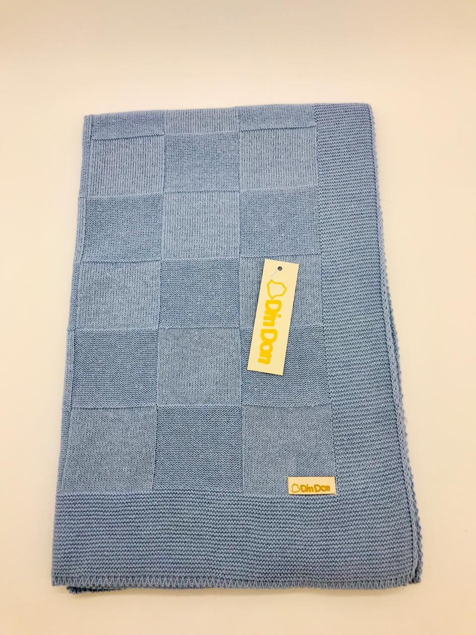 Manta Quadradinha Luxo Cor Azul Bebe - Din Don Ref Dd1001 158487