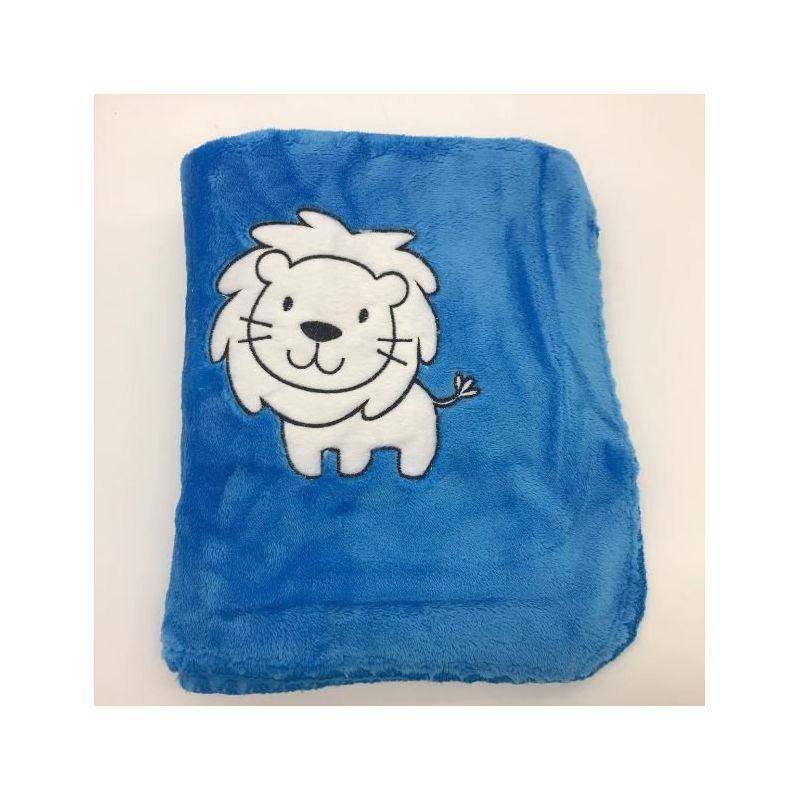 Manta Soft Microfibra 75cmx1,00m Leão Azul - Baby Joy Ref 30006