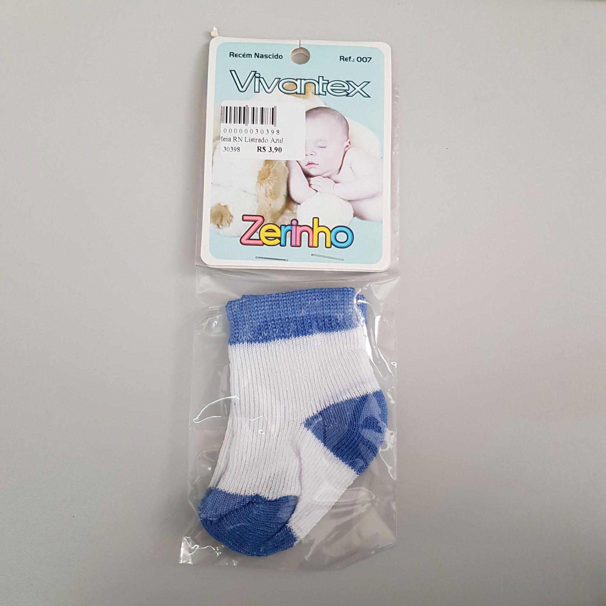 Meia Infantil RN 1 par Branco e Azul Escuro - Vivantex