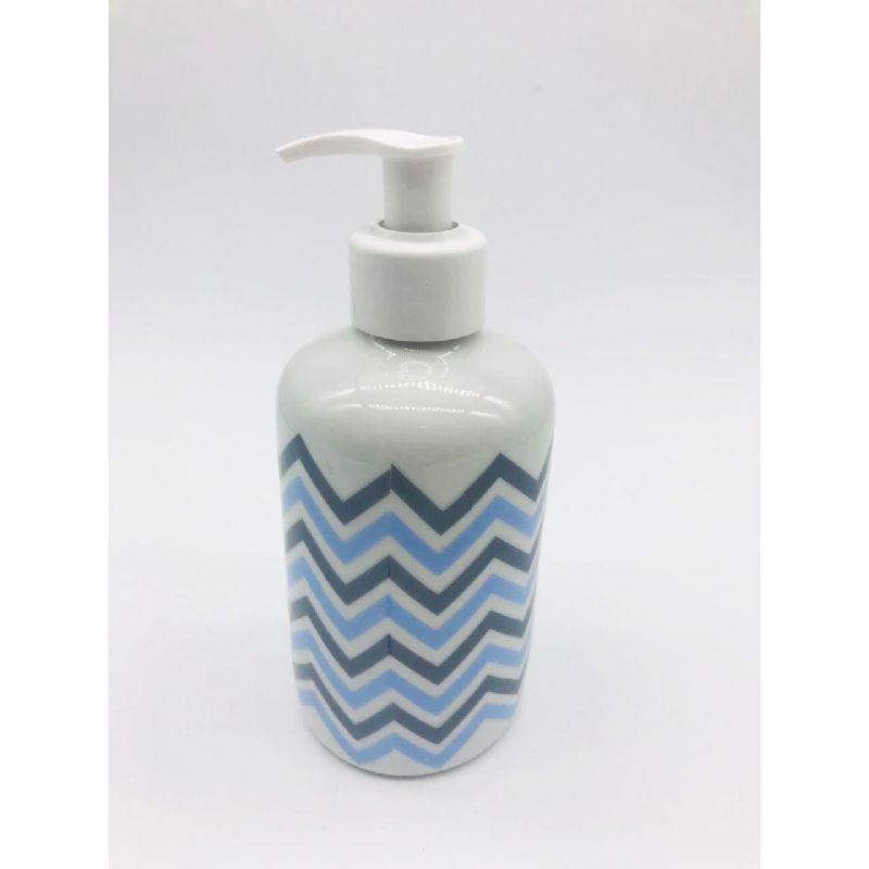 Porta Alcool Gel Porcelana Chevron Azul -  1 UND