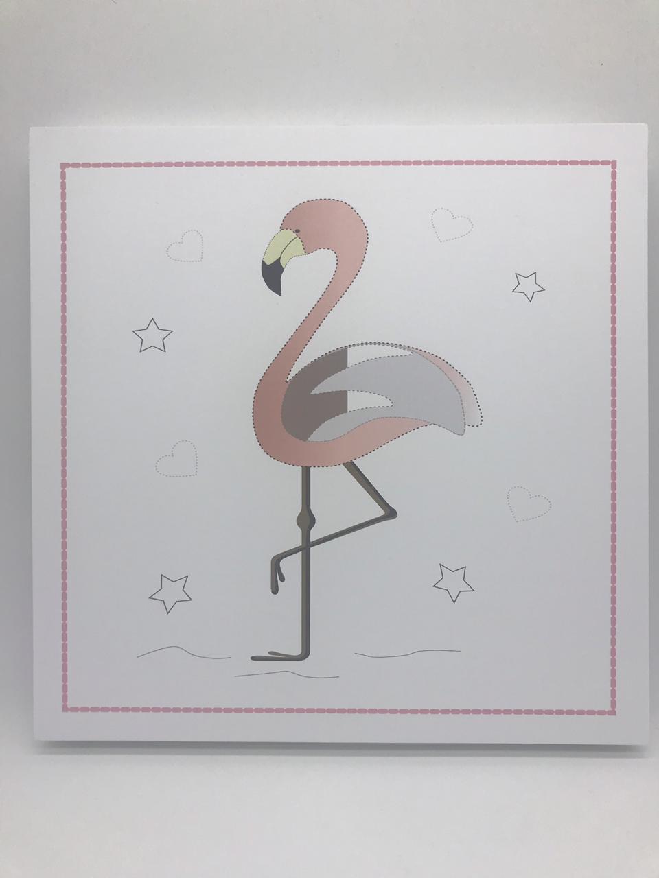 Quadro Moderninho Flamingo Estrela - Divino Talento Ref 7239