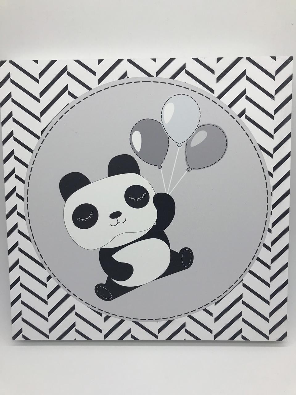 Quadro Moderninho Panda Com Baloes - Divino Talento Ref 7222