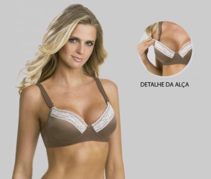 Sutiã de Bojo Com Renda Castanho Tam 44 - my Lady Ref 31184