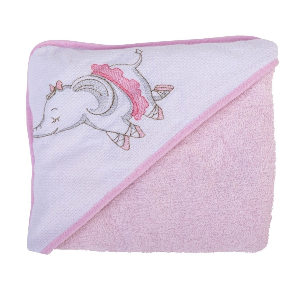 Toalha Bordada Com Capuz De Canto Elefante Bailarina - Bambi