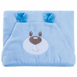 Toalha c/ Capuz Funny Ursinho Azul 70 cm x 90cm - Baby Joy