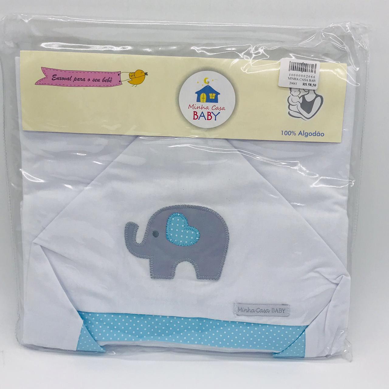 Toalha C/capuz Malha Elefante Poa Azul - m c Baby  Ref Tbc2041