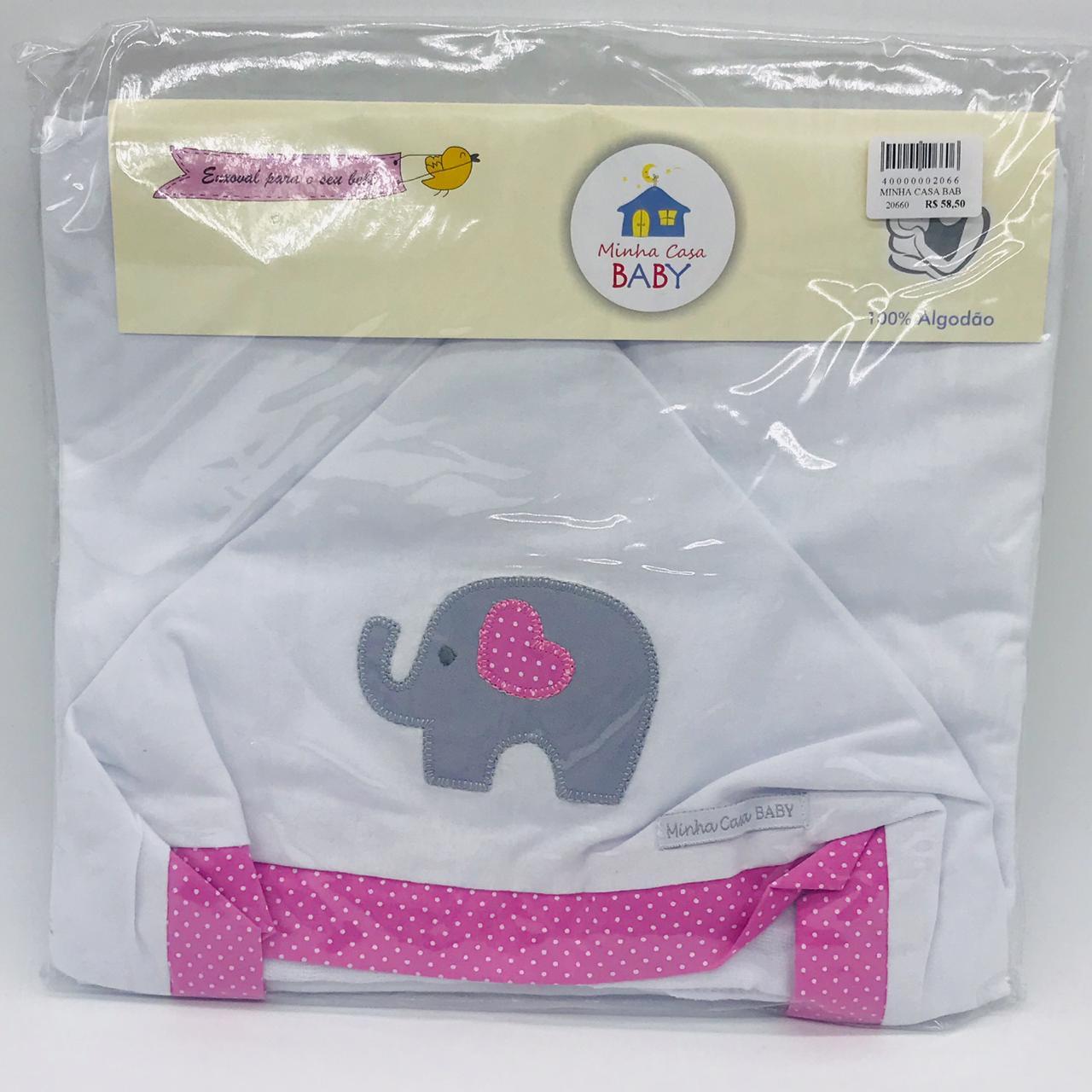 Toalha C/capuz Malha Elefante Poa Rosa - m c Baby  Ref Tbc2042