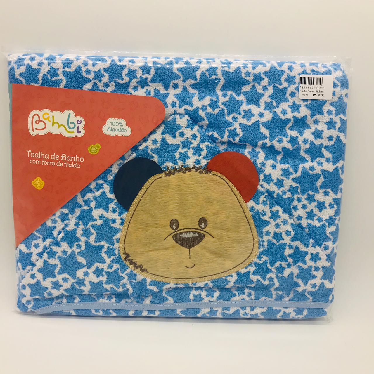 Toalha Capuz Bichinho Urso Azul - Bambi Incomfral Ref 0013