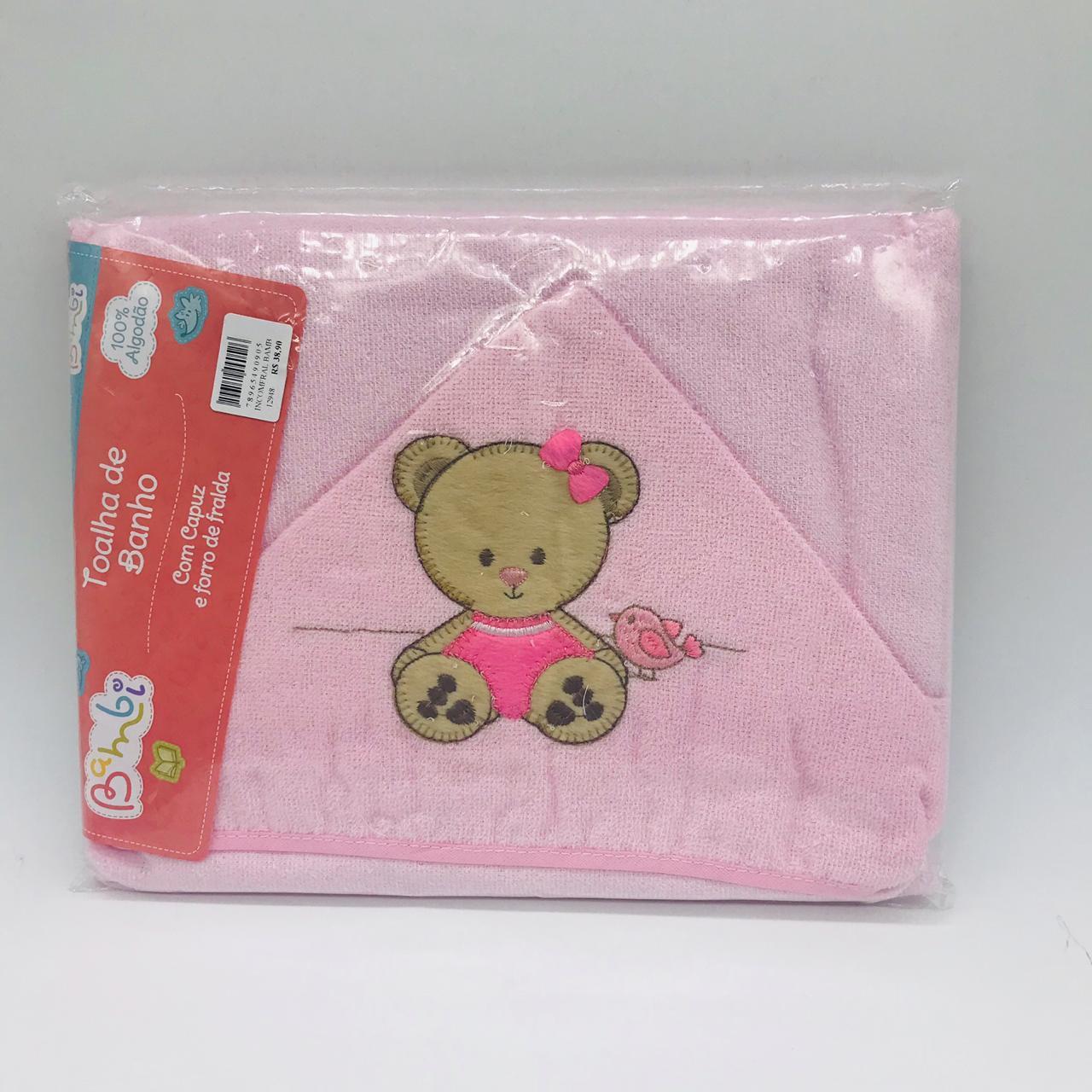 Toalha Capuz Bordada Ursinha Rosa - Incomfral Ref 02003302030014