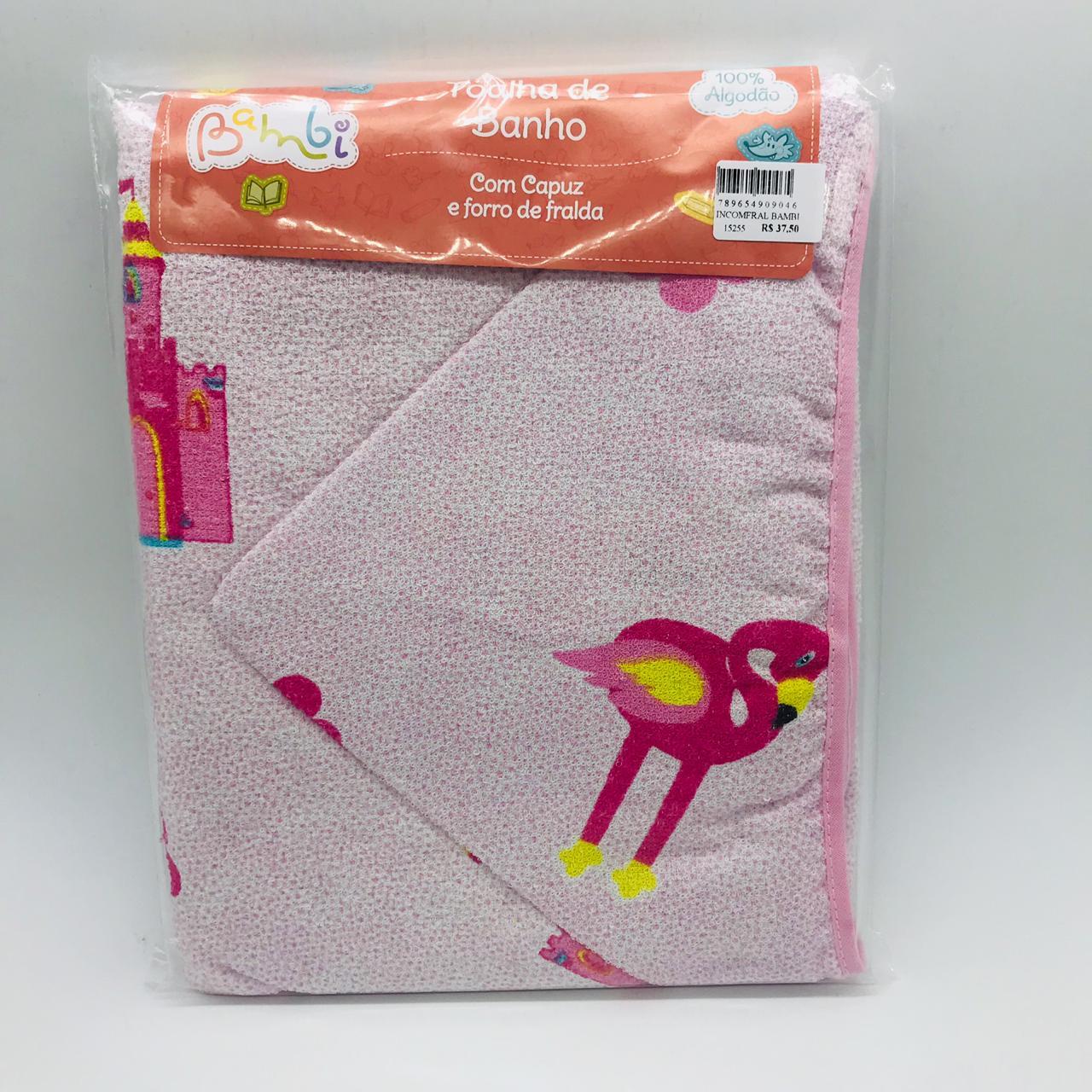 Toalha Capuz Fralda Flamingo - Bambi Incomfral Ref 02003302020014