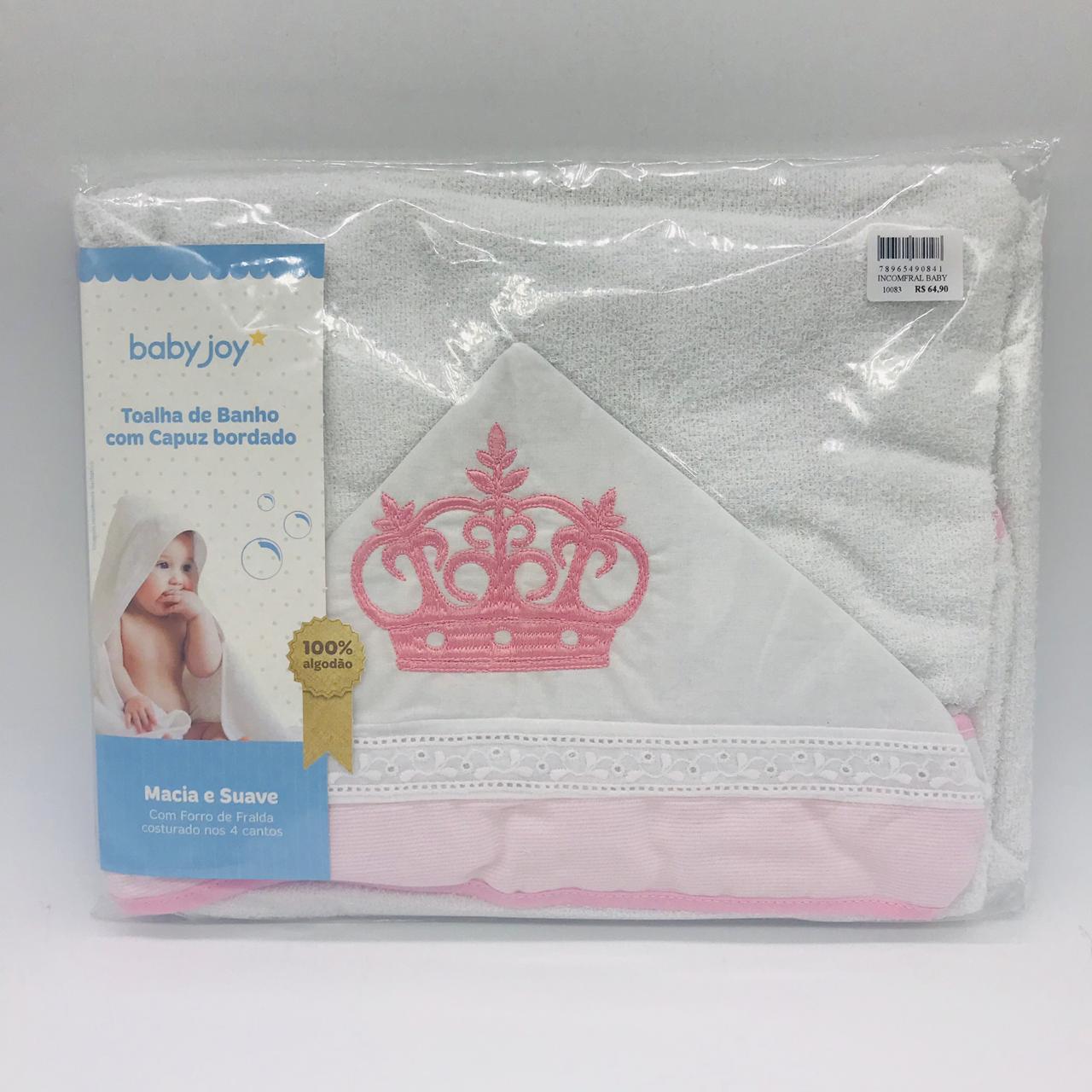 Toalha Com Capuz Bordado Coroa Rosa - Minasrey Ref 04043302010003