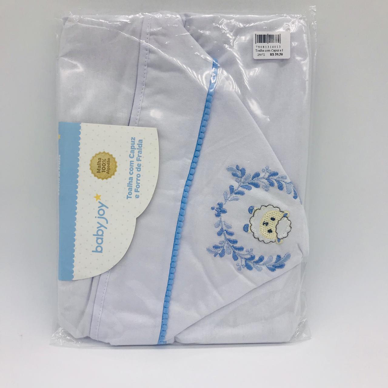 Toalha Com Capuz e Forro de Fralda Bordado Carneiro Azul - Baby Joy Incomfral Ref 04043302020008