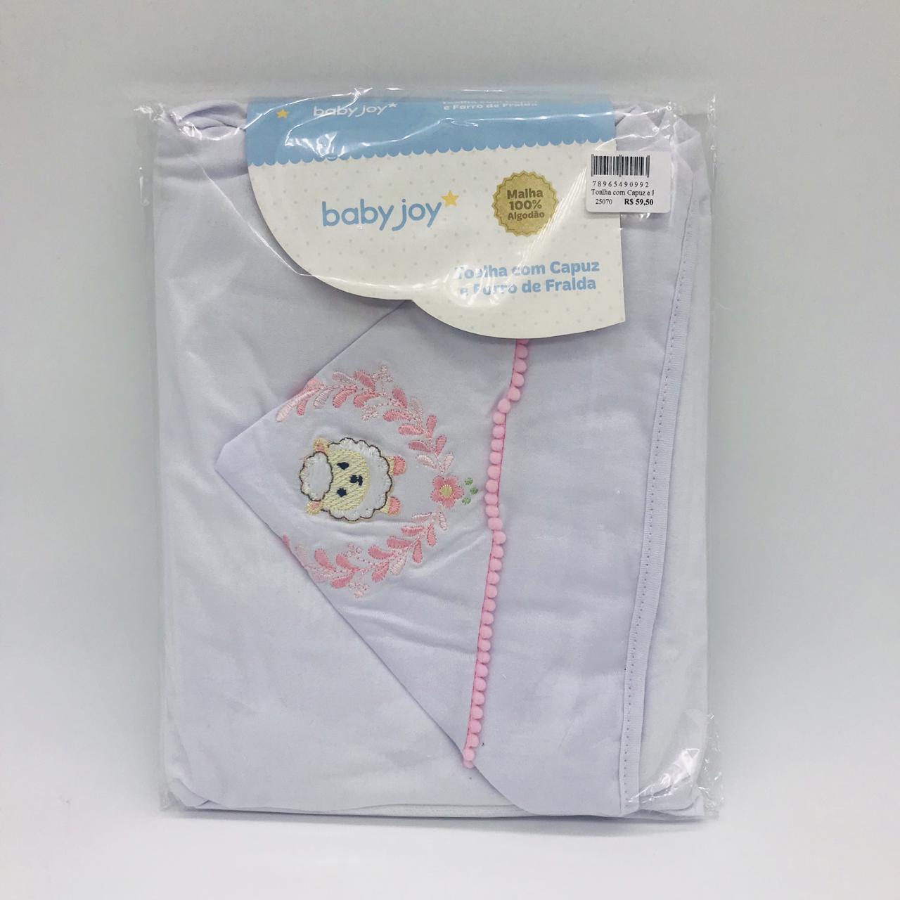 Toalha Com Capuz e Forro de Fralda Bordado Ovelha -  Baby Joy Incomfral Ref 04043302020007