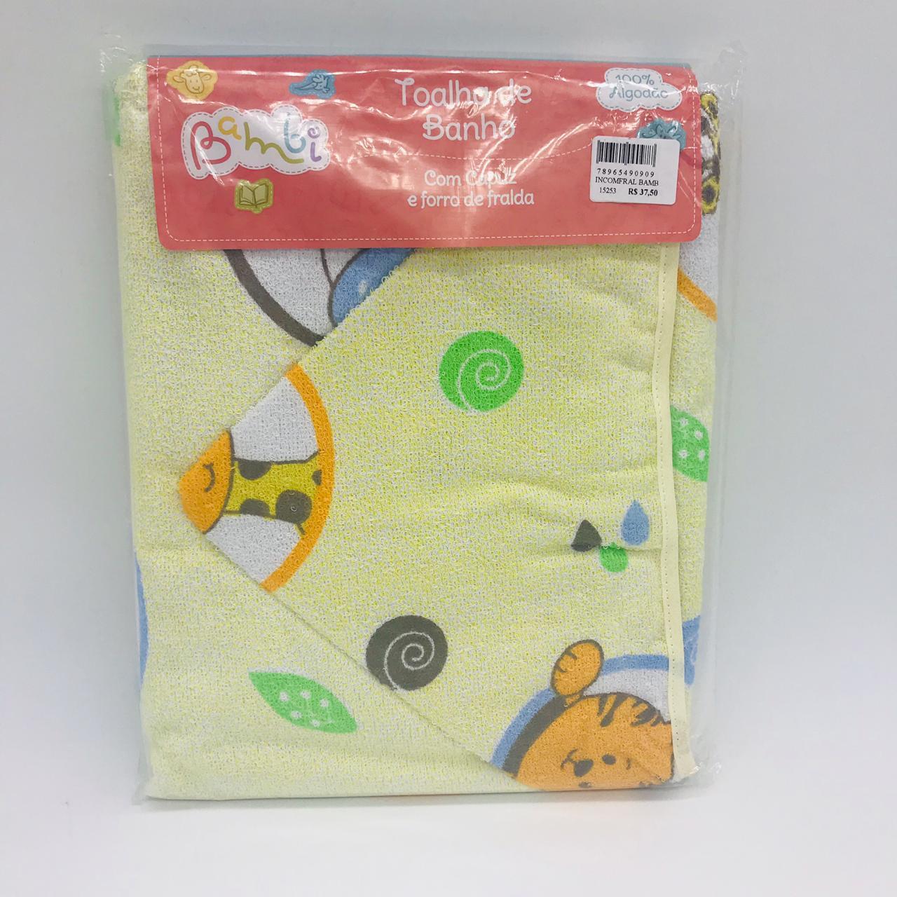 Toalha Com Capuz e Forro Fralda Girafa - Bambi Incomfral Ref 02003302020012