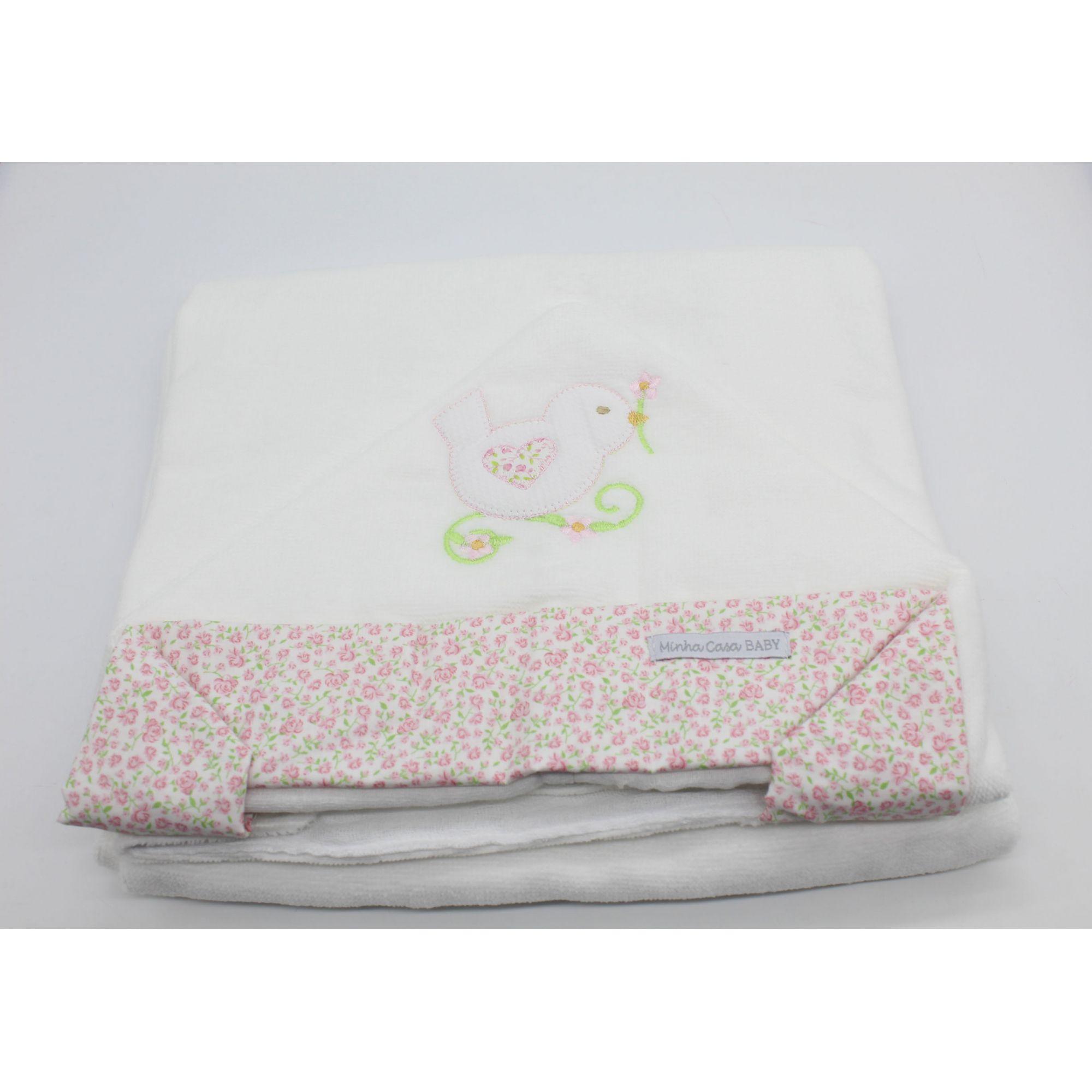 Toalha de Banho c/ Capuz Felpa Passarinho Rosa - Minha Casa Baby Ref Tbf6082
