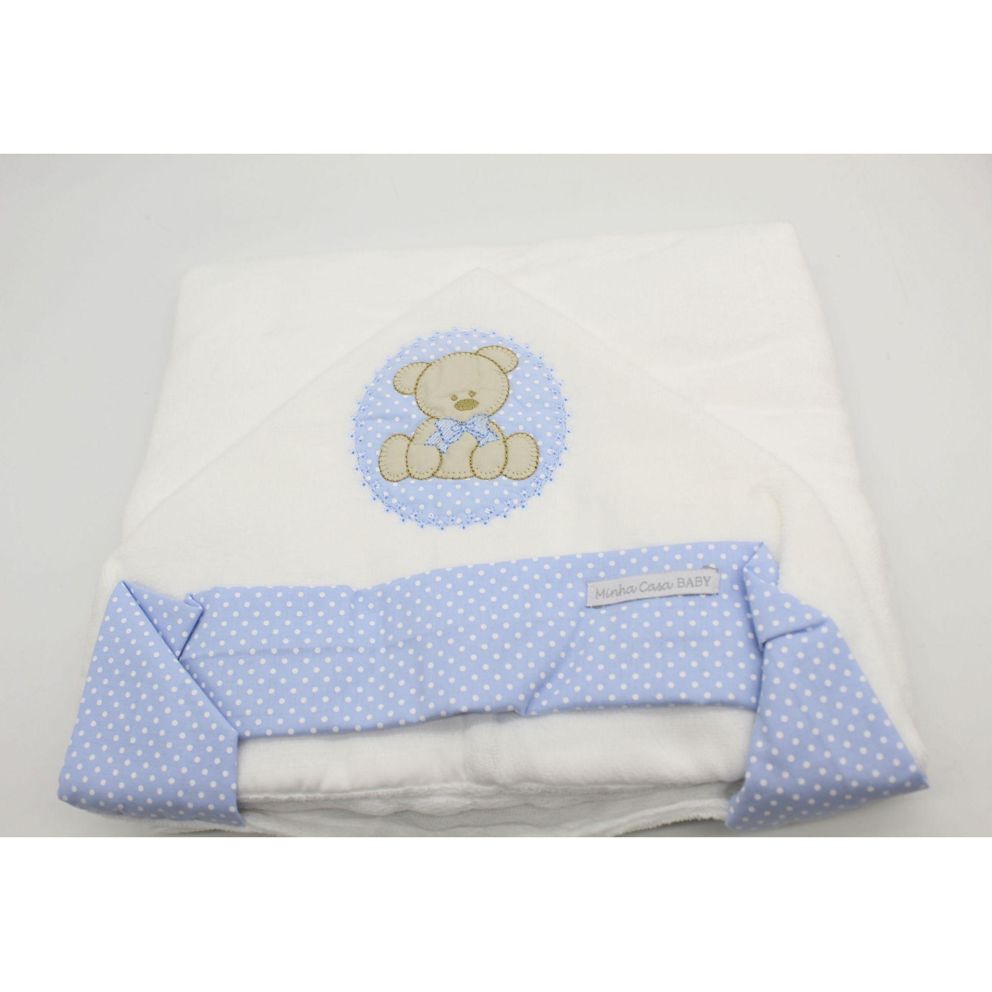 Toalha de Banho c/ Capuz Felpa Urso Bolacha Azul - Minha Casa Baby Ref Tbf5021