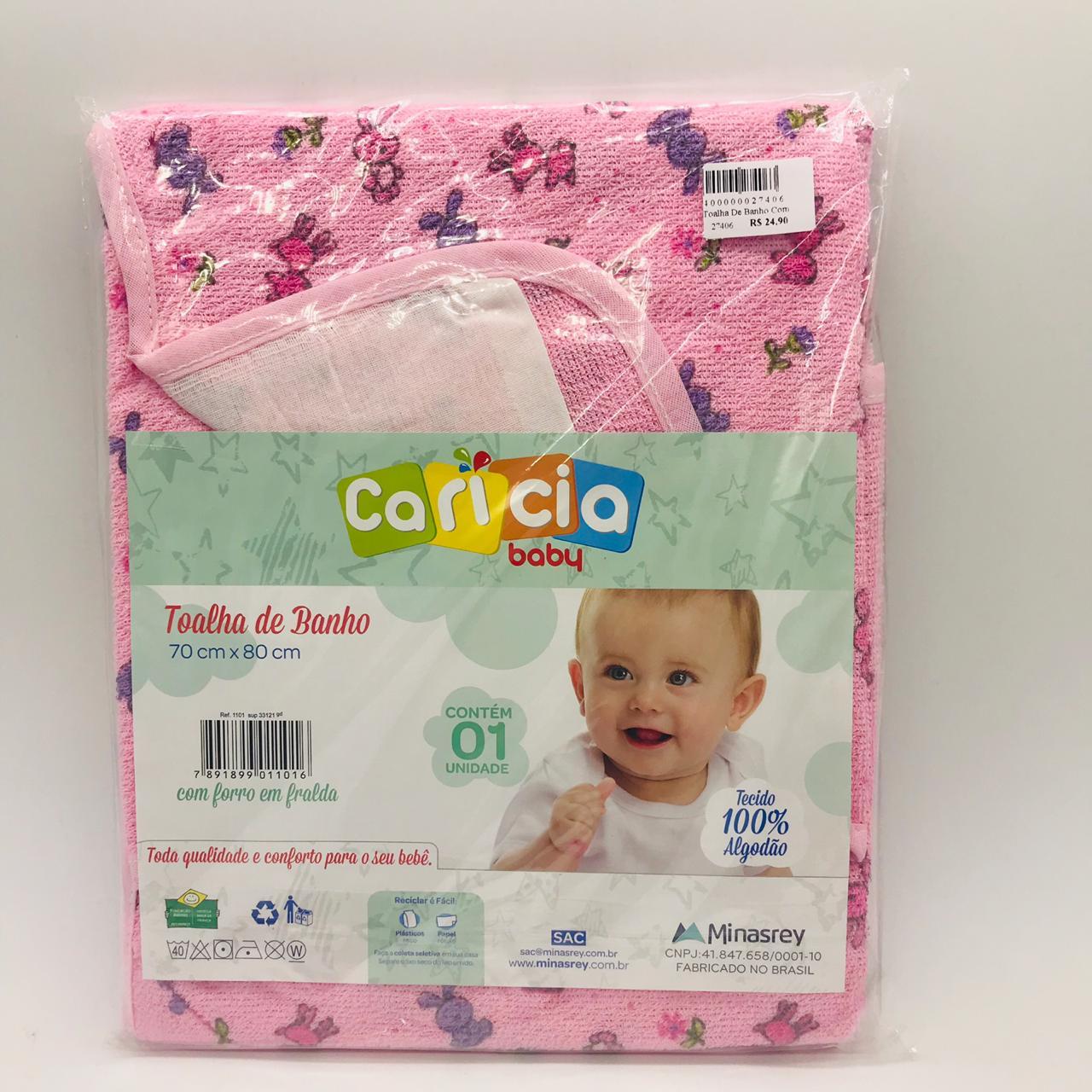 Toalha de Banho Capuz e Forro Rosa Coelho Roxo - Caricia Minasrey Ref 1101