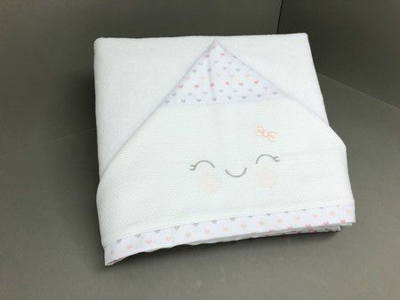 Toalha de Banho Capuz Fralda Corações - ac Baby  Ref 03085 91u