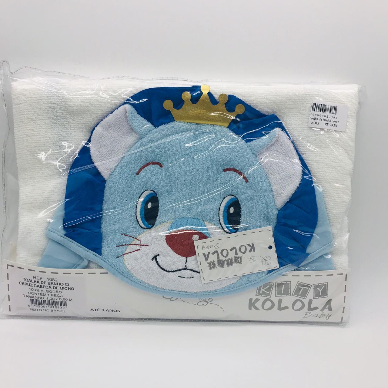 Toalha de Banho Capuz Leão Azul Com Coroa - Kity Kolola Ref 1082