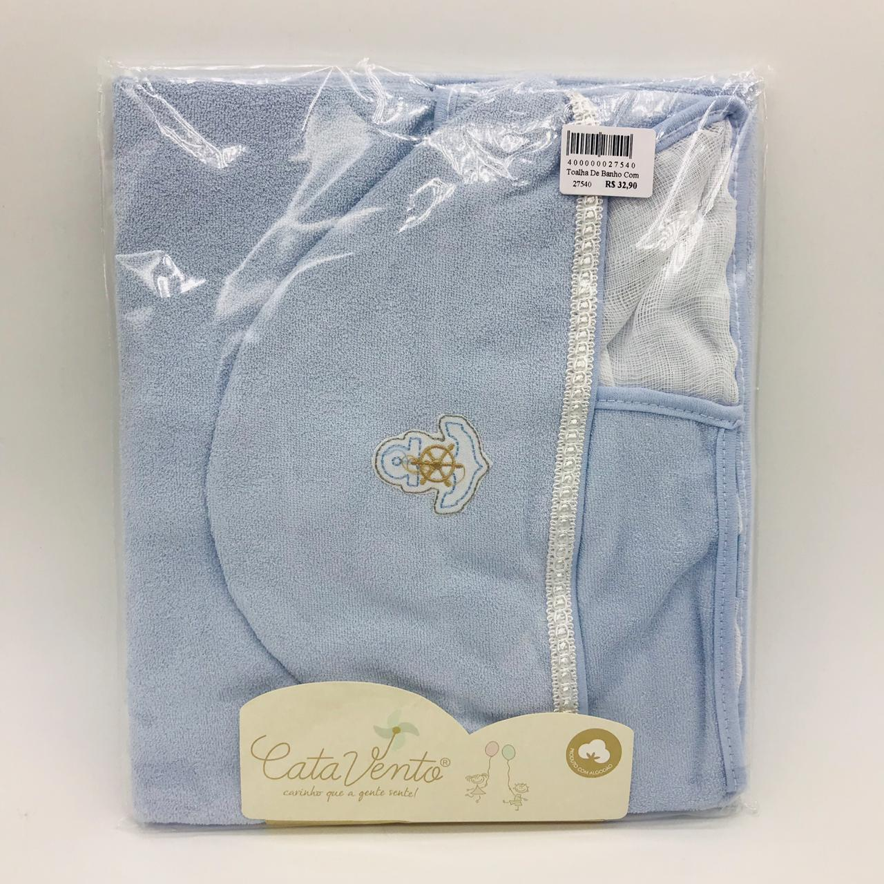 Toalha de Banho Com Fralda Azul Ancora - Catavento Ref 120