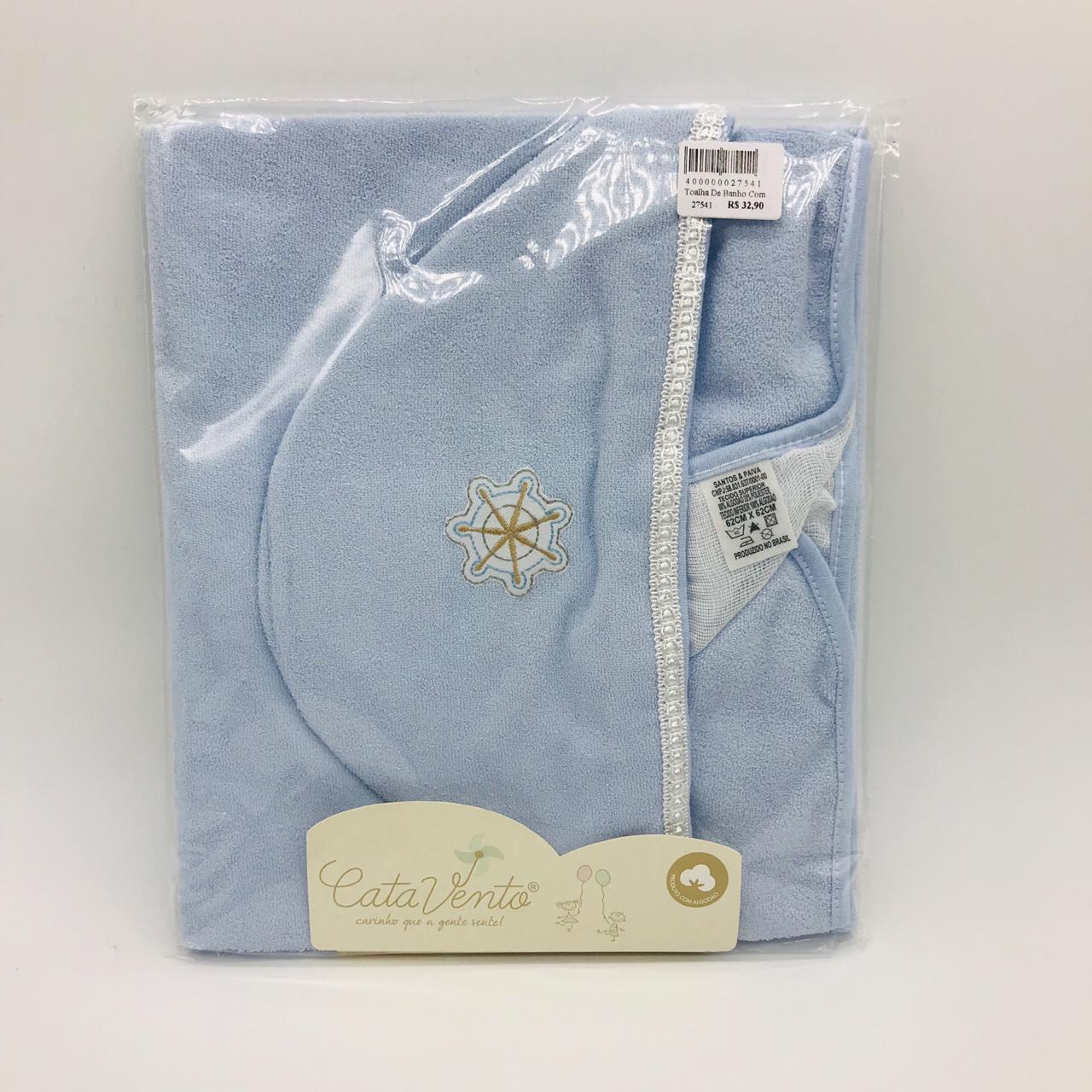 Toalha de Banho Com Fralda Azul Volante Navio - Catavento Ref 120