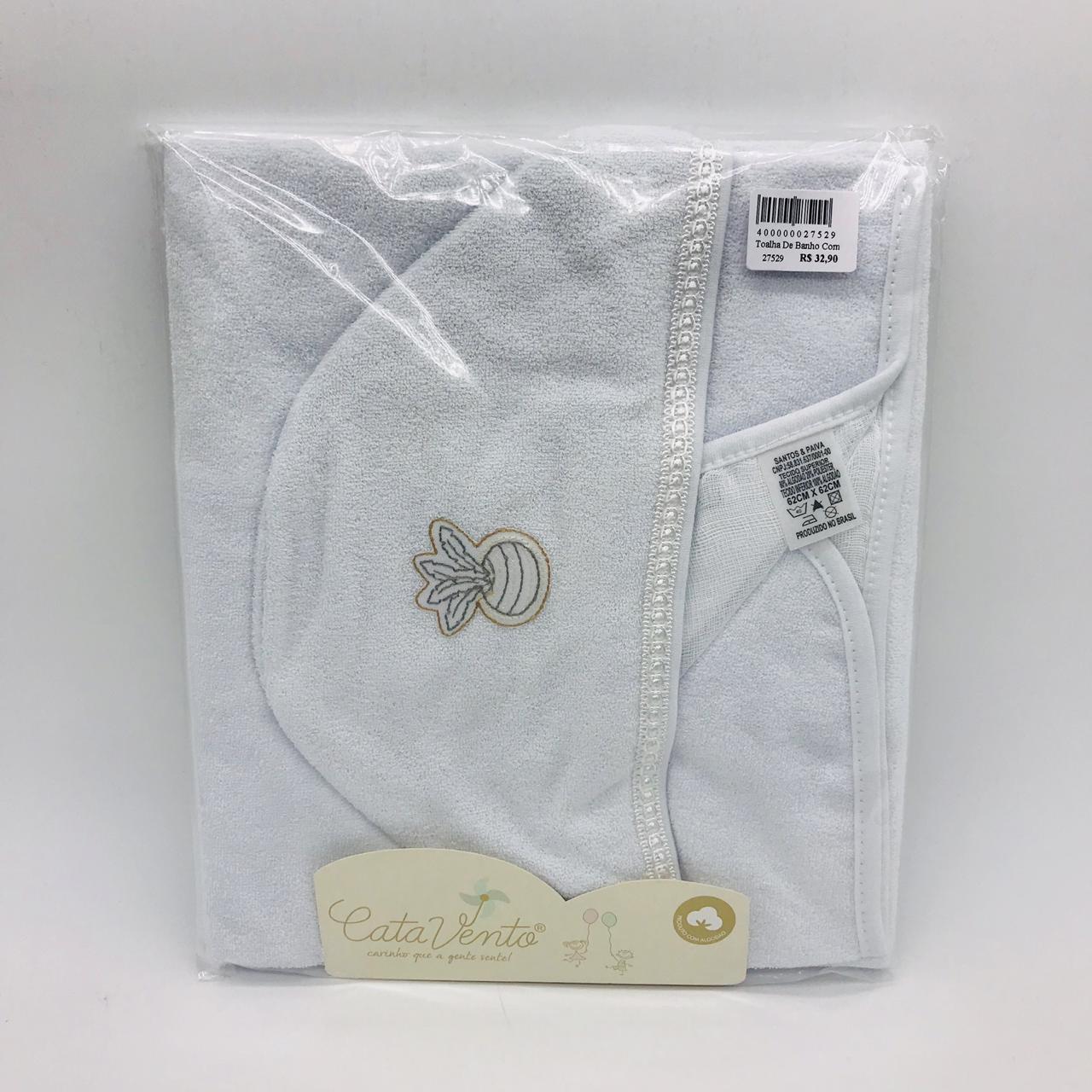 Toalha de Banho Com Fralda Branco Peteca - Catavento Ref 120