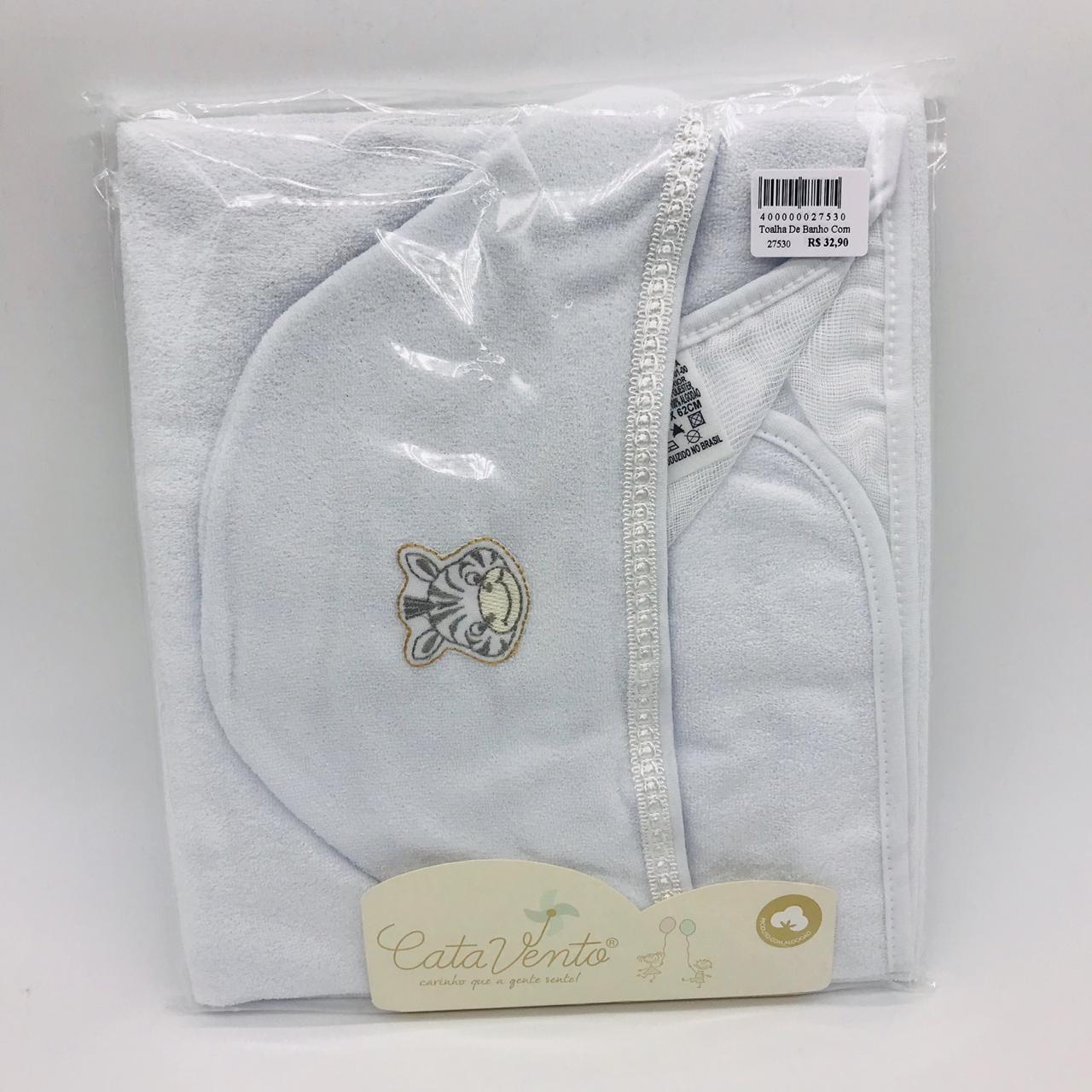 Toalha de Banho Com Fralda Branco Zebra - Catavento Ref 120