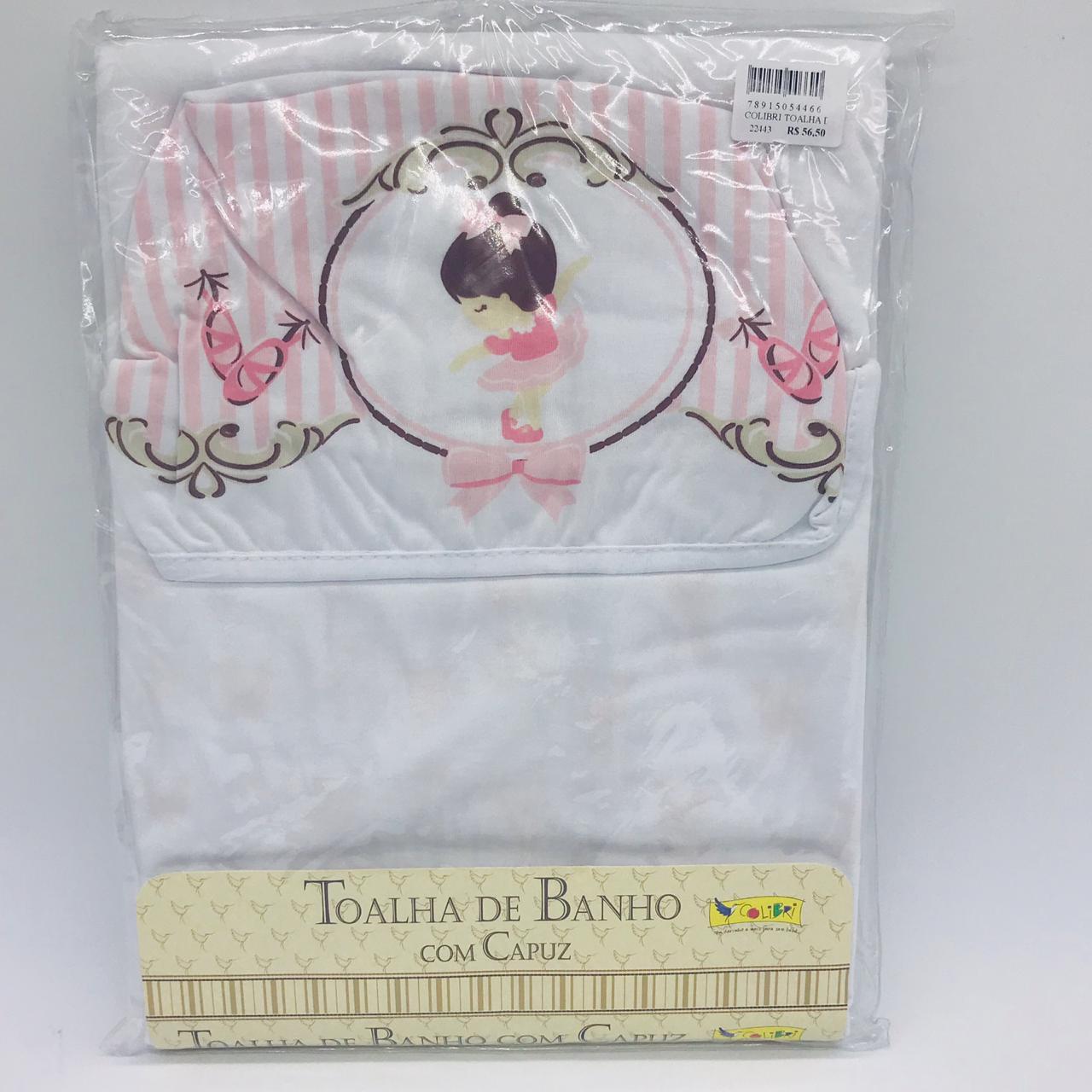 Toalha de Banho Com Fralda Capuz Estampado Bailarina Rosa - Colibri Ref 1130860846304