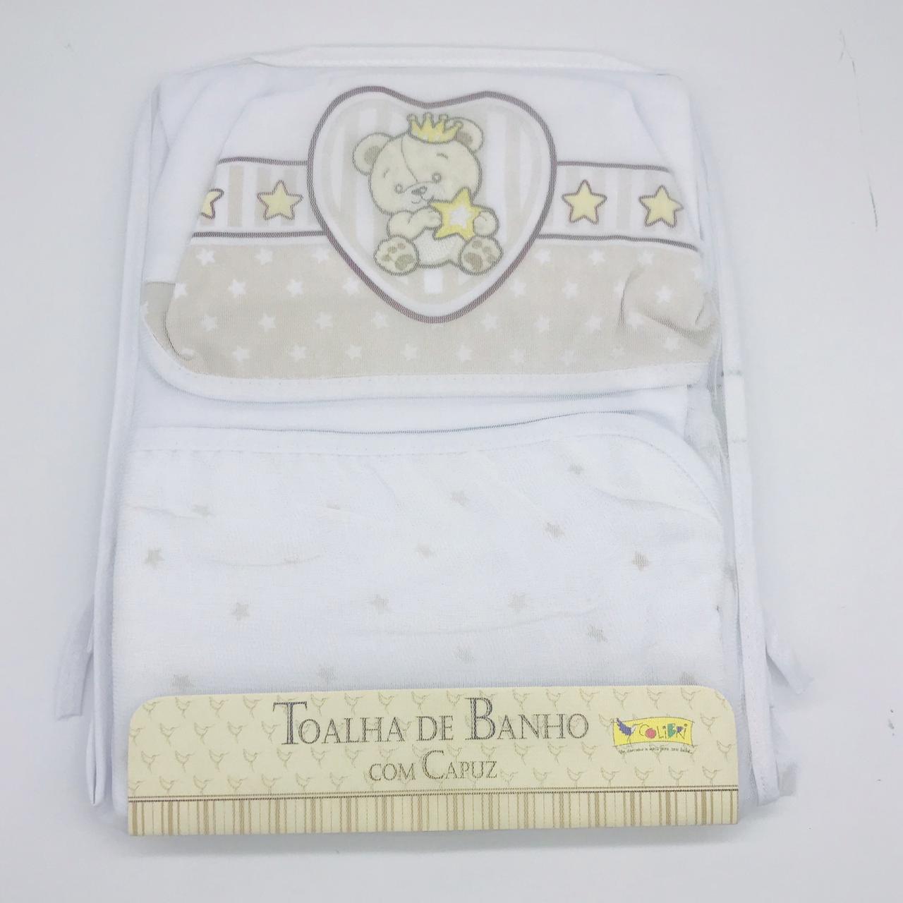Toalha de Banho Com Fralda Capuz Estampado Superstar Bege - Colibri Ref 1130870836908