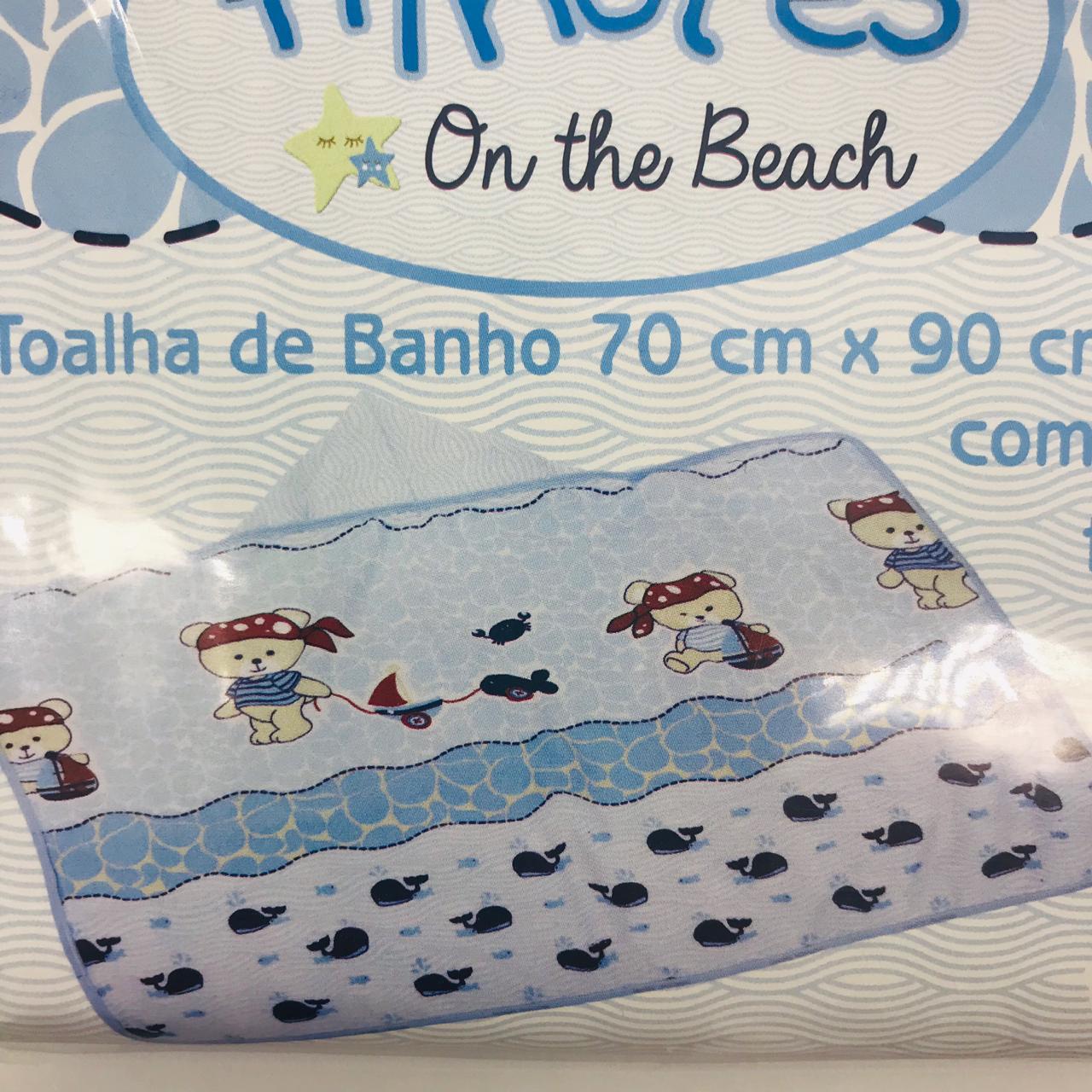 Toalha de Banho Forro Fralda Filhotes Baleia - Minasrey Ref 1979