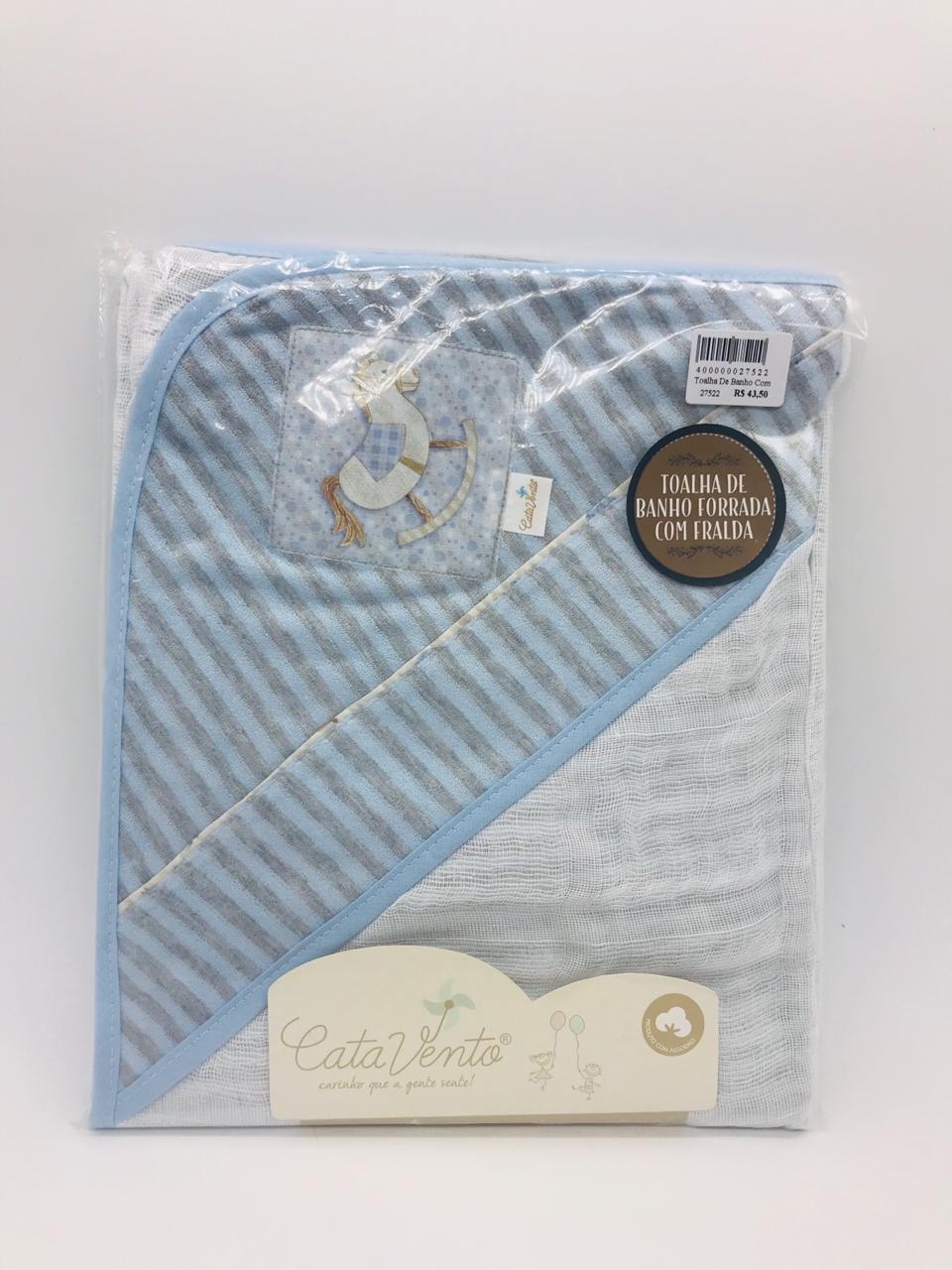 Toalha de Banho Fralda Plush Azul Cavalinho - Catavento Ref 022