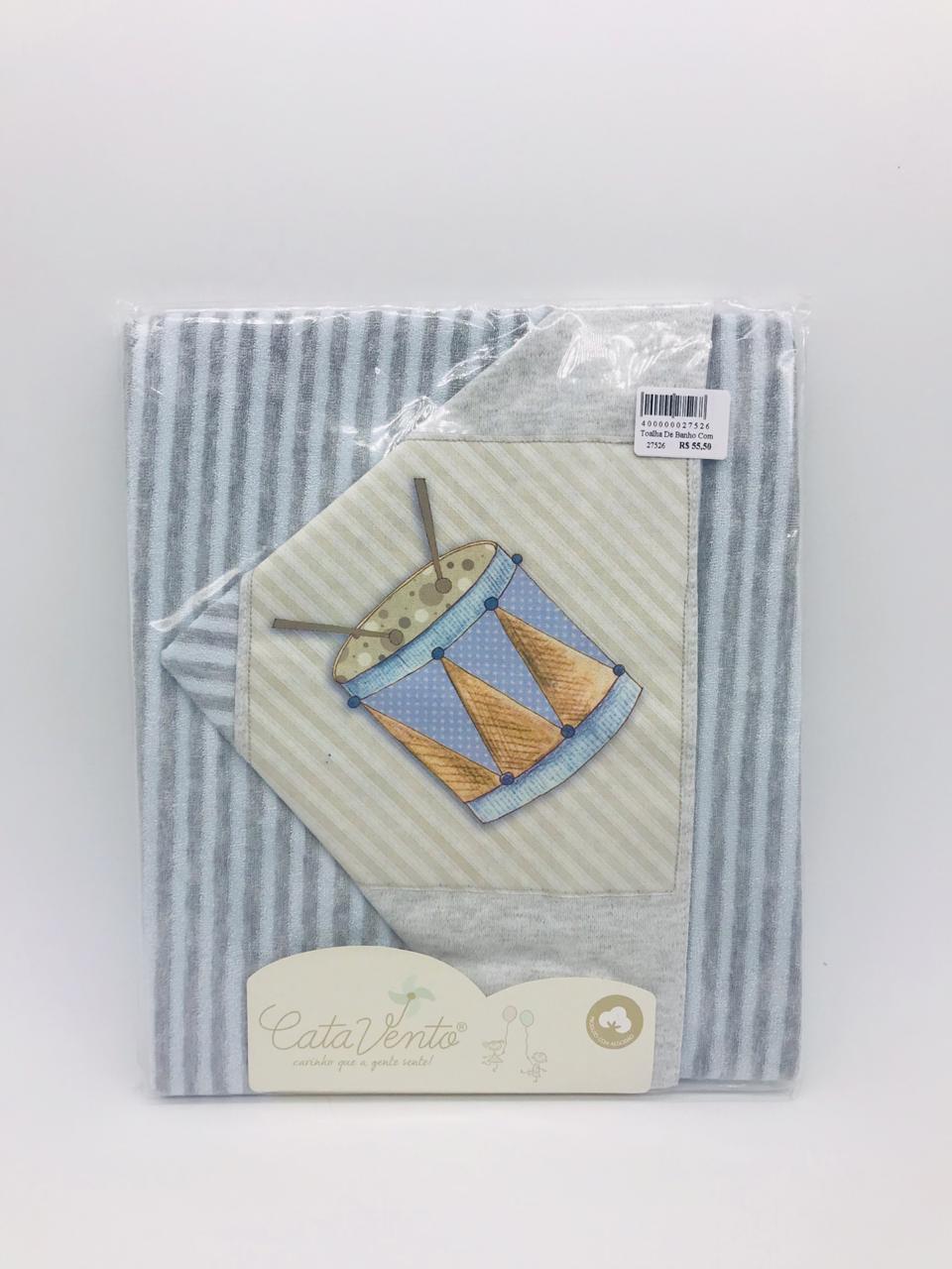 Toalha de Banho Fralda Plush Azul Tambor - Catavento Ref 021