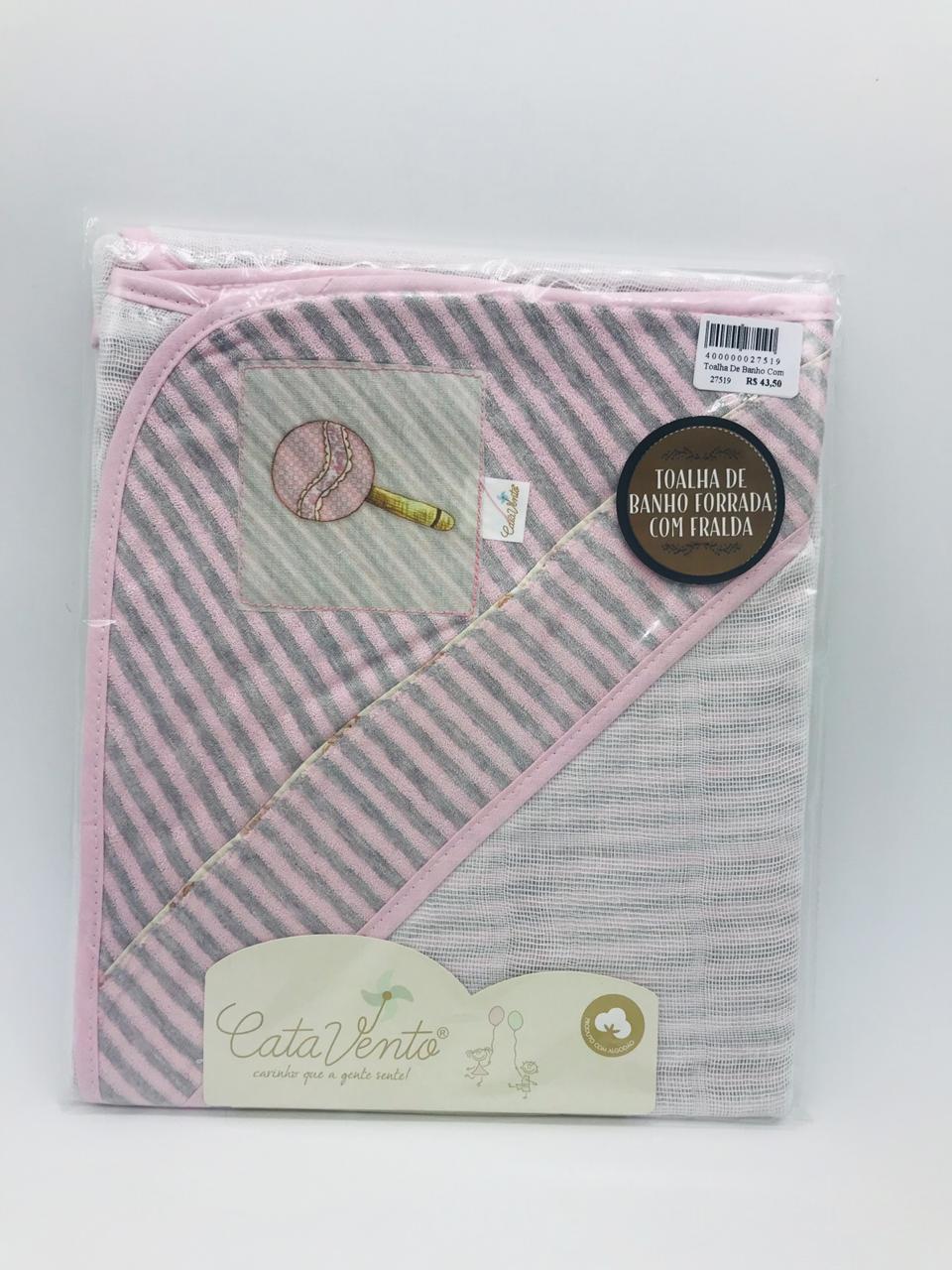 Toalha de Banho Fralda Plush Rosa Chocalho - Catavento Ref 022