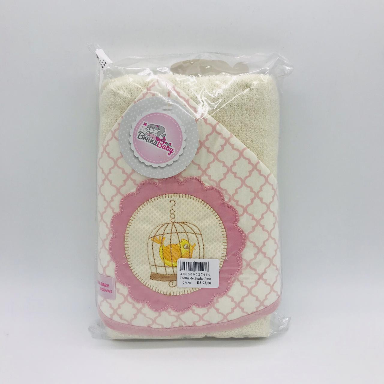 Toalha de Banho Passarinho Rosa - Bruna Baby Ref 30665
