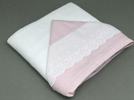 Toalha de Banho Renda Capuz Rosa Antigo - ac Baby Ref 05223 86u