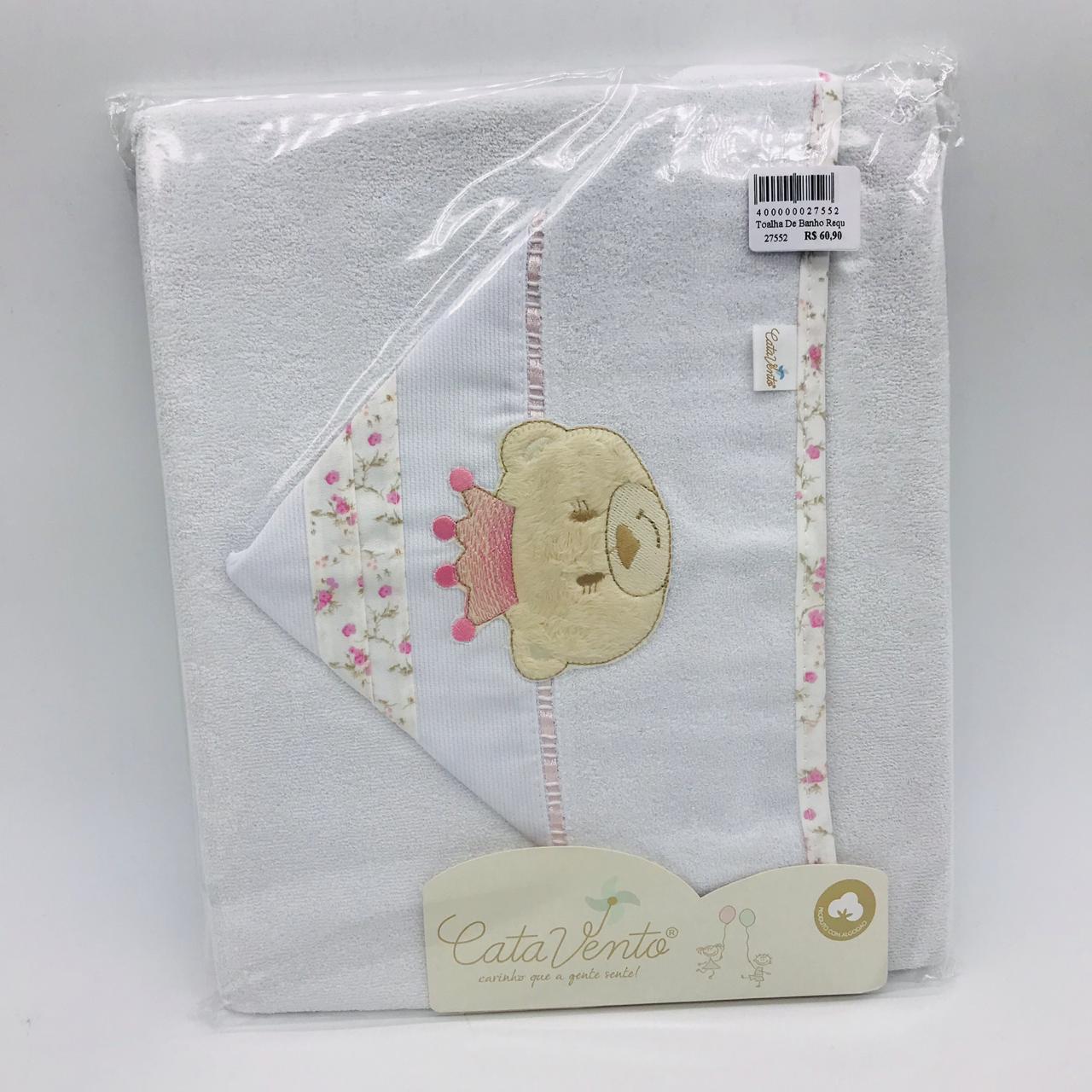 Toalha de Banho Requinte Rosa Ursa Princesa Floral - Catavento Ref 501