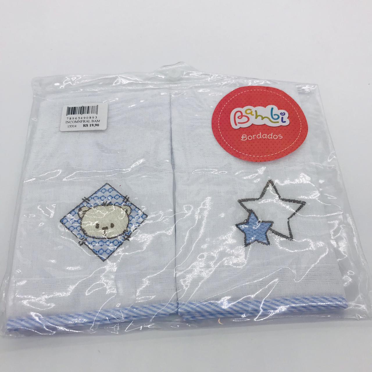Toalha de Boca Ursinho e Estrelas Azul - Bambi Incomfral Ref 02022200010007