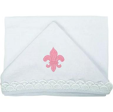 Toalha de Malha c/ Capuz Flor de Liz - Baby Joy Ref 04153